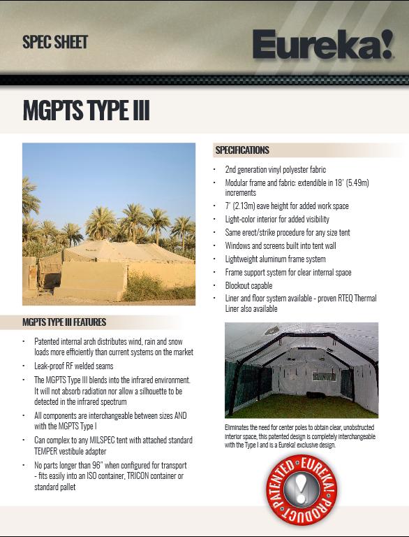 MGPTS TYPE III  sc 1 st  Eureka Military Tents & Modular General Purpose Tent System